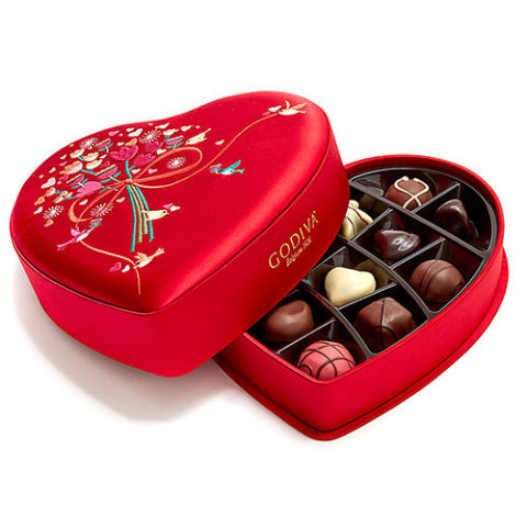Godiva Valentineu0027s Day Fabric Heart Chocolate Gift Box